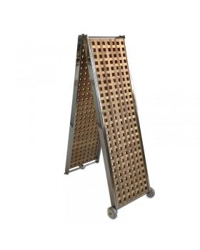 Πασαρέλα Aναδιπλούμενη Ξύλινη Καφασωτή, με Aνοξείδωτο σκελετό,  250x38cm, 20,6 kg
