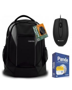 """Σακίδιο πλάτης Canyon CNR-FNB01 για Laptop έως 15.6"""" + Ενσύρματο οπτικό ποντίκι Canyon CNE-CMS1 + ΔΩΡΟ Licence Panda Internet Security 2015 (PC) για 1 χρόνο"""
