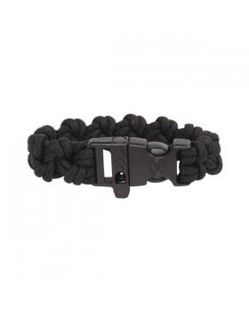 Survival-Paracord Bracelet-Μαύρο Με Σφυρίχτρα